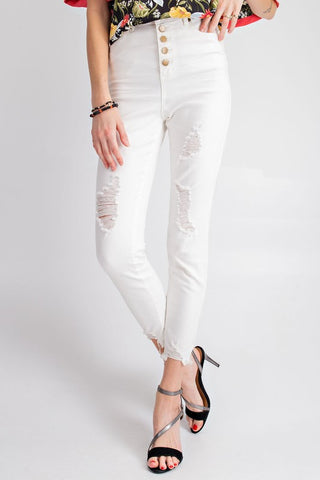 White Button Down Stretch Twill Crop Pant
