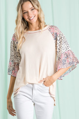 See You Soon Mixed Animal Print Sleeve Top