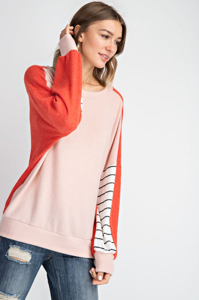 Coral Color Block Striped Sleeve Top