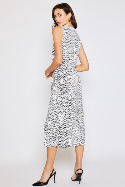 Animal Print Drape Pocket Sleeveless Knit Dress