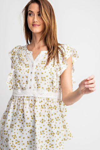 Poppyseed Picnic Ruffled Sleeve Top