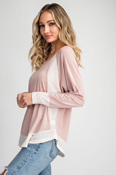 Separate Lines Pink Stripe Long Sleeve Top