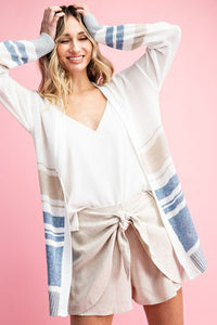 Varsity Blues Long Lined Striped Cardigan