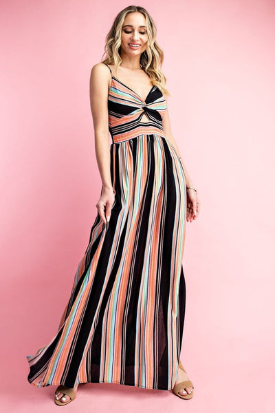 Ready for This Striped Knotted Front Maxi Dress