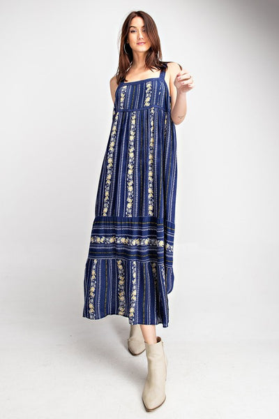 Midnight Spring Lace Trim Maxi Dress