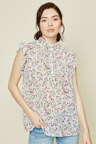 Tulip Festival Floral Ruffle Top