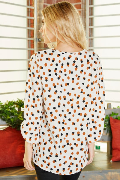 Baubles & Dots Puff Sleeve Top