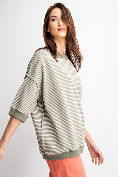 Hey You Pin Striped Sage Boat Neck Top