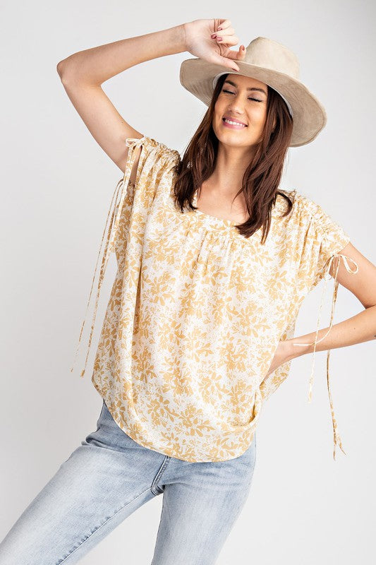 Sierra Cinch Shoulder Loose Fit Top in Taupe