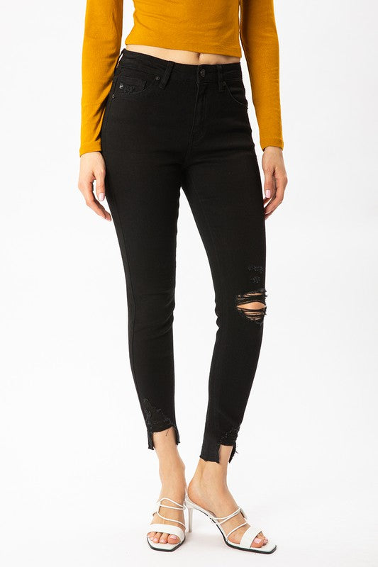 The Chloe High Rise Hem Detail Ankle Skinny Jean in Black