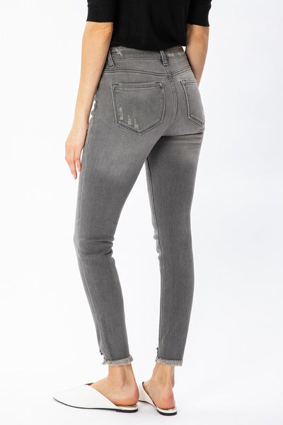 The Misty Faded Gray High Rise Ankle Skinny Jean