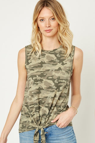 RESTOCKED!! The Renee Camo Tie Front Tank