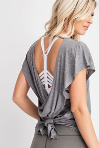 On To the Next Open Back Yoga Top in Gray