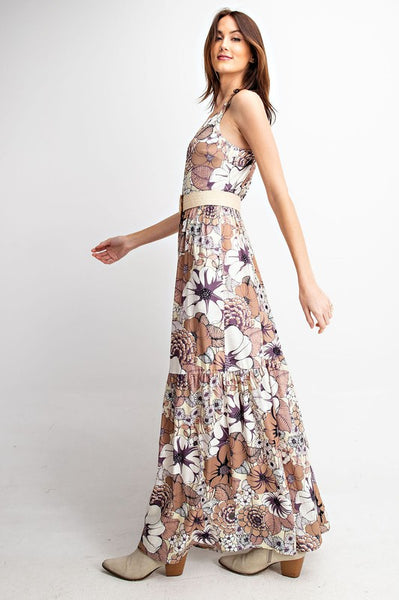 Delilah Floral Tiered Ruffle Maxi Dress- Mocha