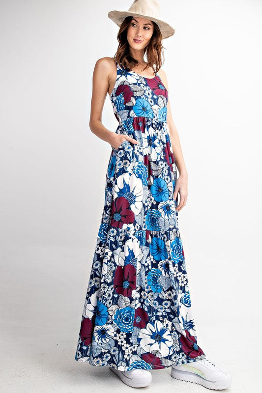 Delilah Floral Tiered Ruffle Maxi Dress- Blue