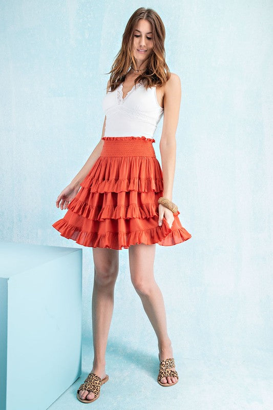 Take Your Time Ruffled Skirt in Hot Coral