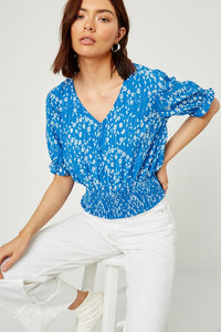Blue Bell Floral Button-Down Smocked Top