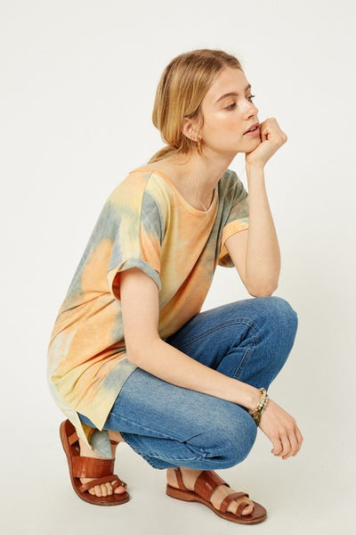 Orange Burst Tie Dye Scoop Neck Top