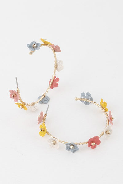 Multi Colored Daisy Hoop Earrings