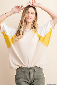 Morning Oats Color Block Dolman Top