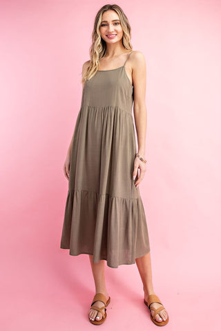 The Trish Tiered Olive Midi Dress