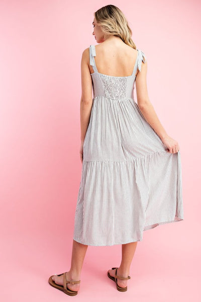 Daydreamer Pinstripe Button Down Maxi Dress