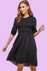 Are you Smocking Me Micro Dot Dress in Black