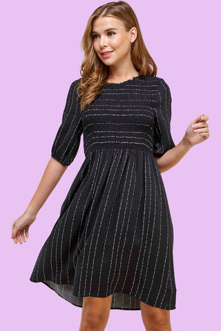 RESTOCKED!!! Are you Smocking Me Micro Dot Dress in Black