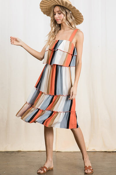 Orange Pop Summer Tiered Tank Dress