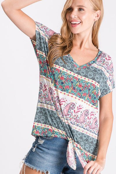 Perfectly Paired Paisley Tie Front Top