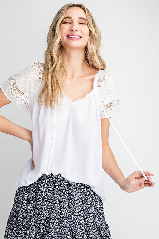 The Abigail Lace Shoulder Top