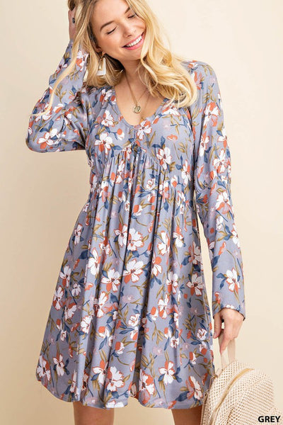 Shades of Gray Floral Swing Dress