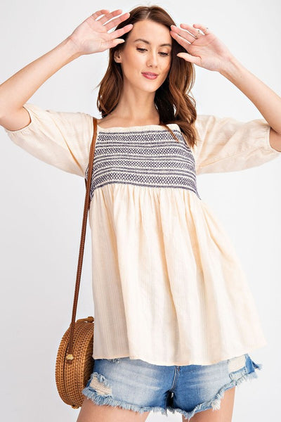 Inca Embroidered Baby Doll Top
