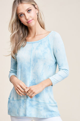 Partially Cloudy Waffle Knit Tie-Dye Top- 2 Colors!