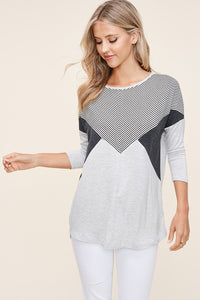Charcoal Striped Color Block Knit Tunic Top