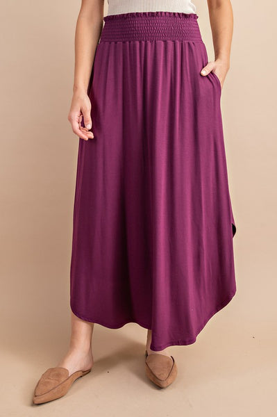 PRE-ORDER ITEM!! Perfectly Plum Smocked Maxi Skirt