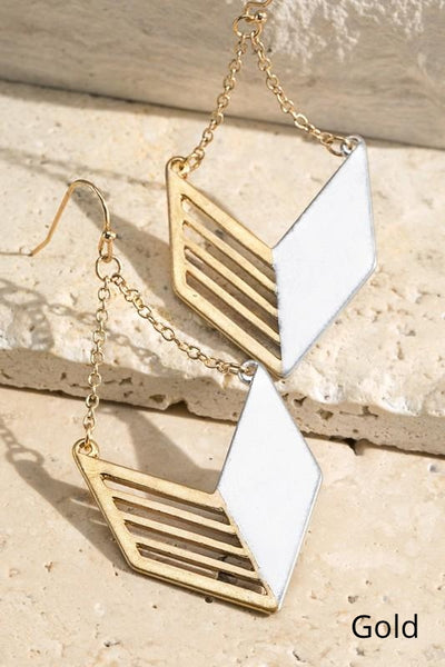 Hanging On Contrasting Chevron Earrings-2 Colors!