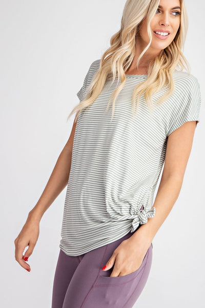 Work It Out Babe Striped Twist Yoga Tee- 2 Colors!