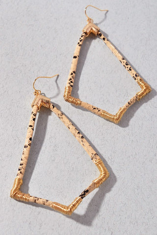Snake and Shape Gold Earrings