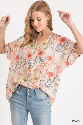 RESTOCKED!! Morning Mist Floral Relaxed Fit Top
