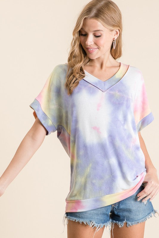 The Bright Side Tie Dye V-Neck Top