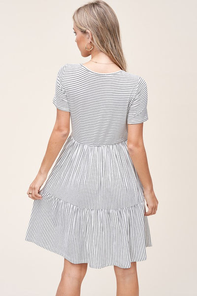 Essential Round Neck Tiered Stripe Dress