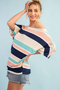 Minty Fresh Slouchy Shoulder Stripe Top