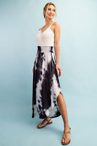 Deep Charcoal Tie Dye Smocked Maxi Skirt