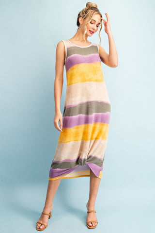The Tanya Ombre Color Block Midi Dress