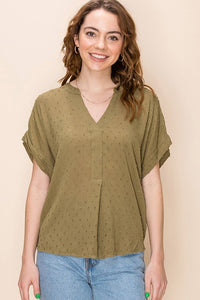 Swiss Dot V-Neck Top-2 Colors!