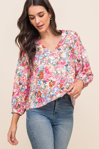 The Stella Floral Button Front Blouse