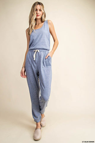 The Lapis Knit Crossback Denim Blue Jumpsuit