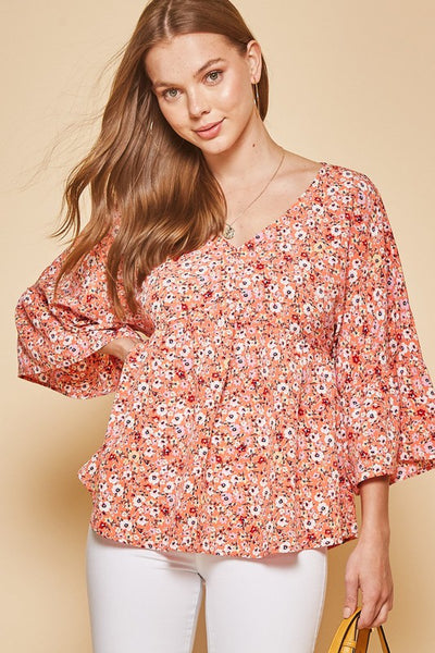 Say it with Coral Floral Print Top