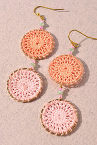 Coral Crochet Dangle Earrings
